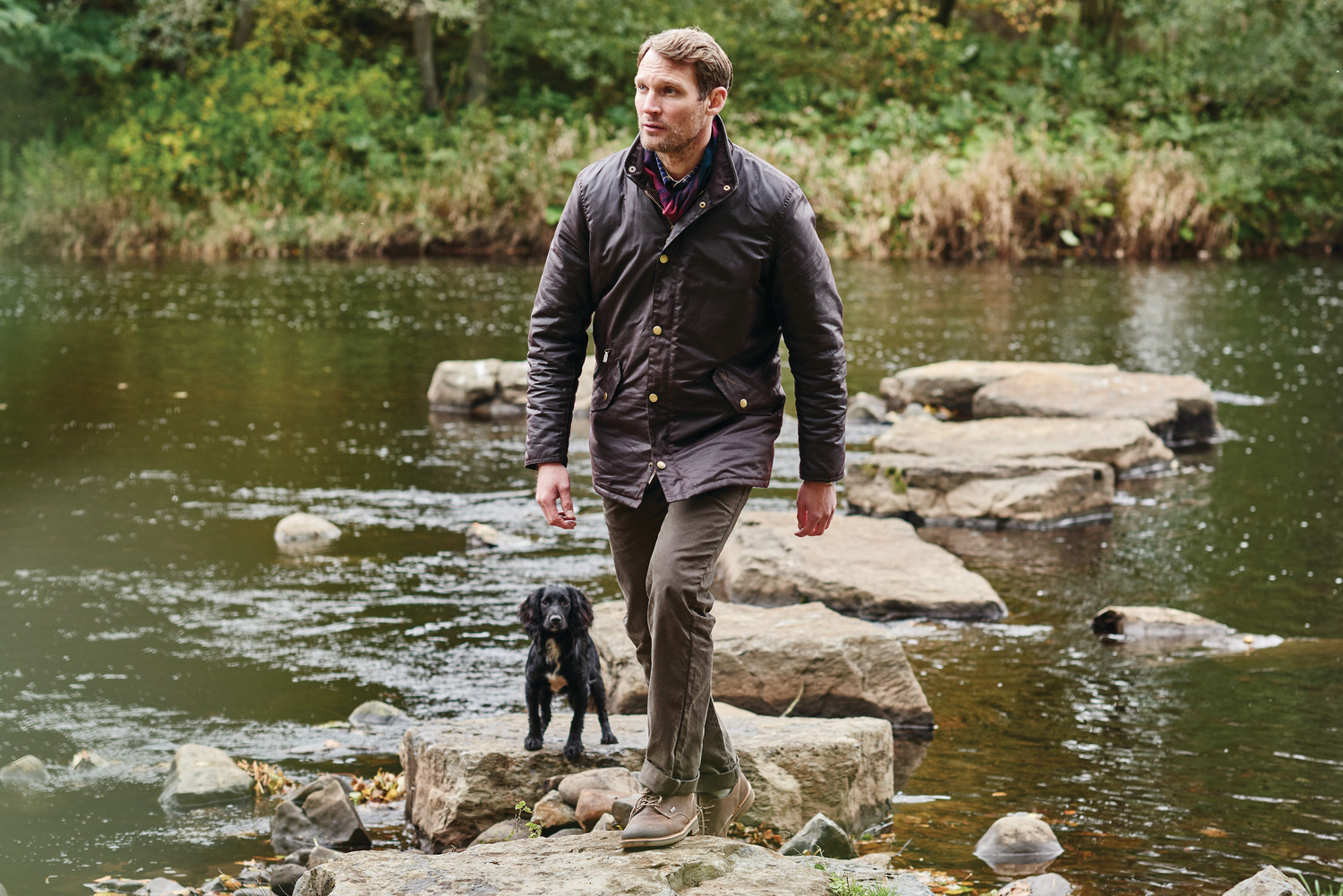Countrywear-Prestbury wax jacket-MWX0726RU91-Rustic. Neuston twill-MTR0465ST51-Stone. Bramley-MFO0325BR91-Dark Brown