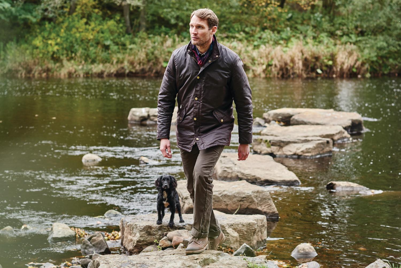 Countrywear-Prestbury wax jacket-MWX0726RU91-Rustic. Neuston twill-MTR0465ST51-Stone. Bramley-MFO0325BR91-Dark Brown